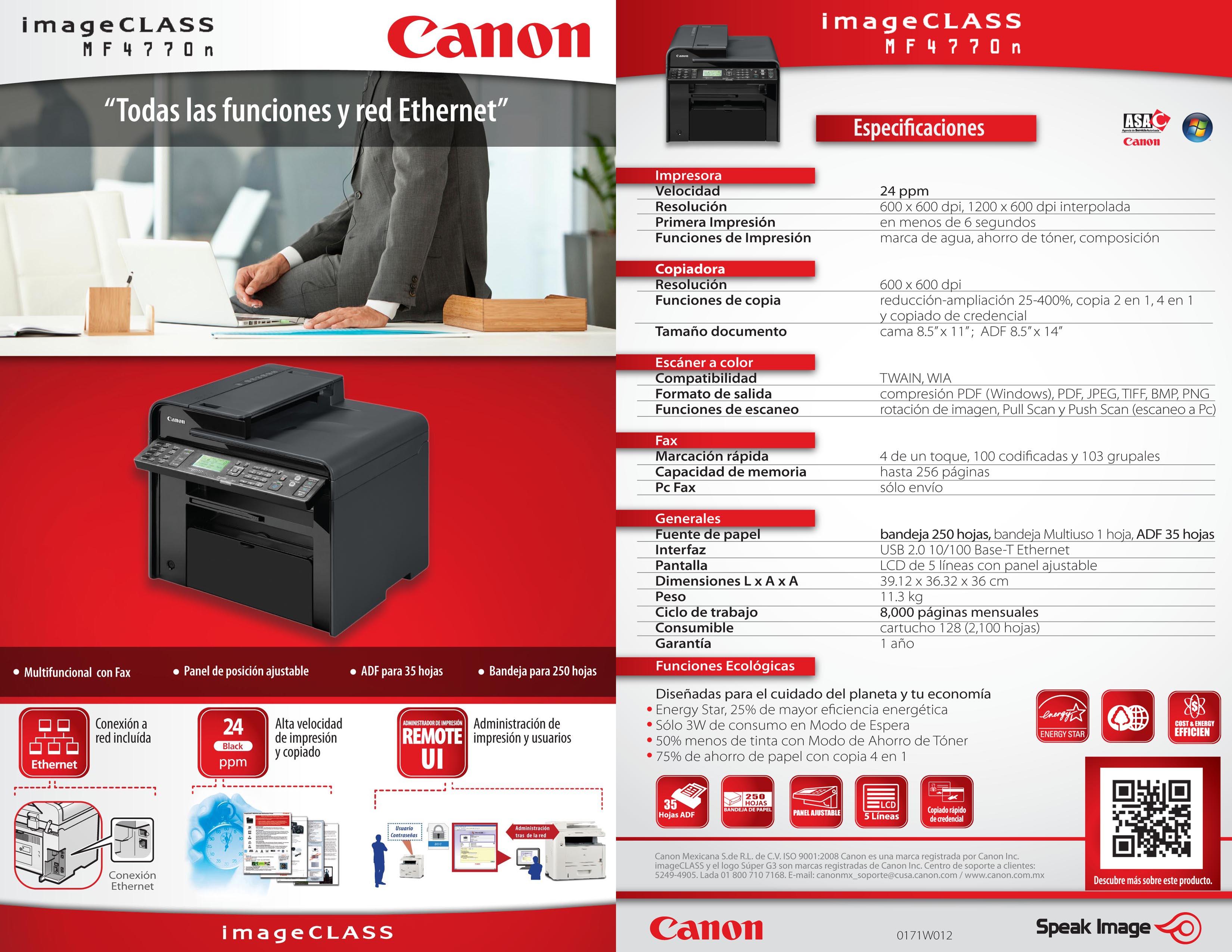 Fotocopiadora Multifuncional Canon Mf 4770n Laser 4 In 1